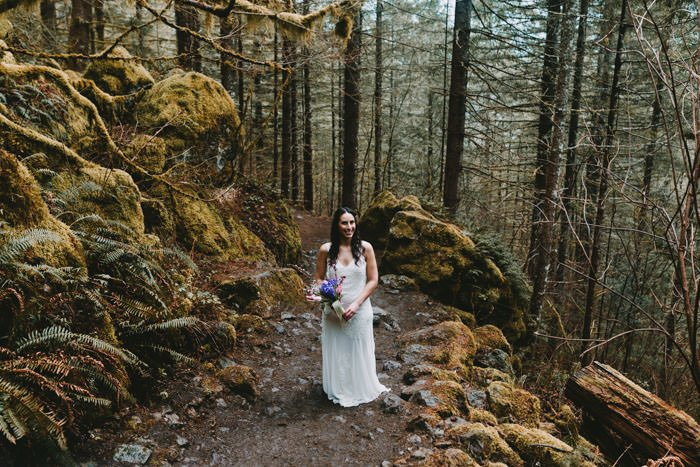 Bride at Rattlesnake Ledge in Seattle