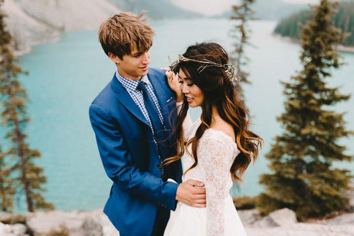Boho Bride and groom Banff wedding