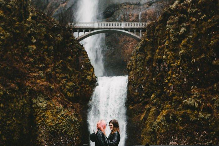 Lesbian Engagement Multnomah Falls Portland