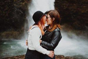 Lesbian couple kisses during their Portland Oregon Elopement