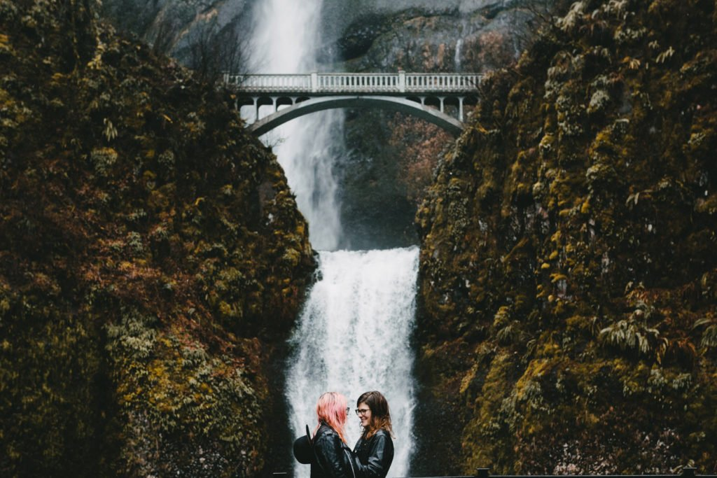 Lesbian couple elopement at Multnomah Falls Portland Oregon