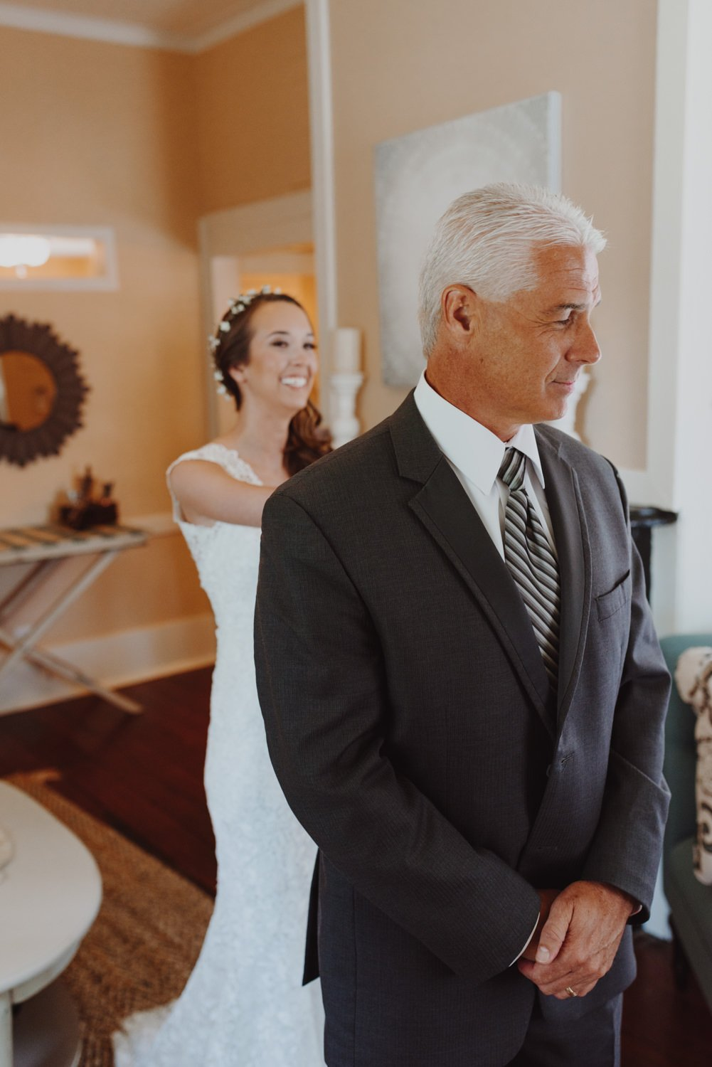 First look between bride and father of the bride