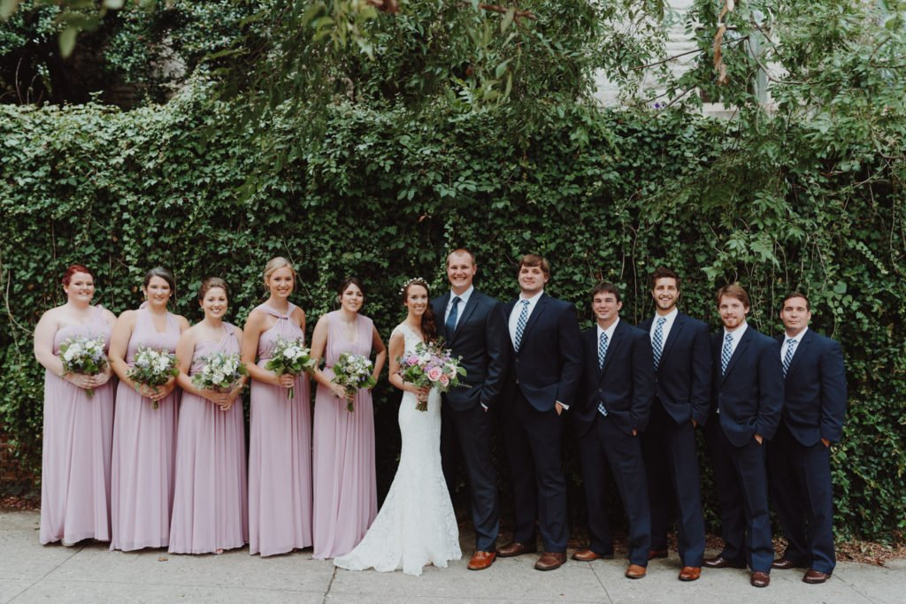 Bridal party group photo before downtown Portland Oregon wedding