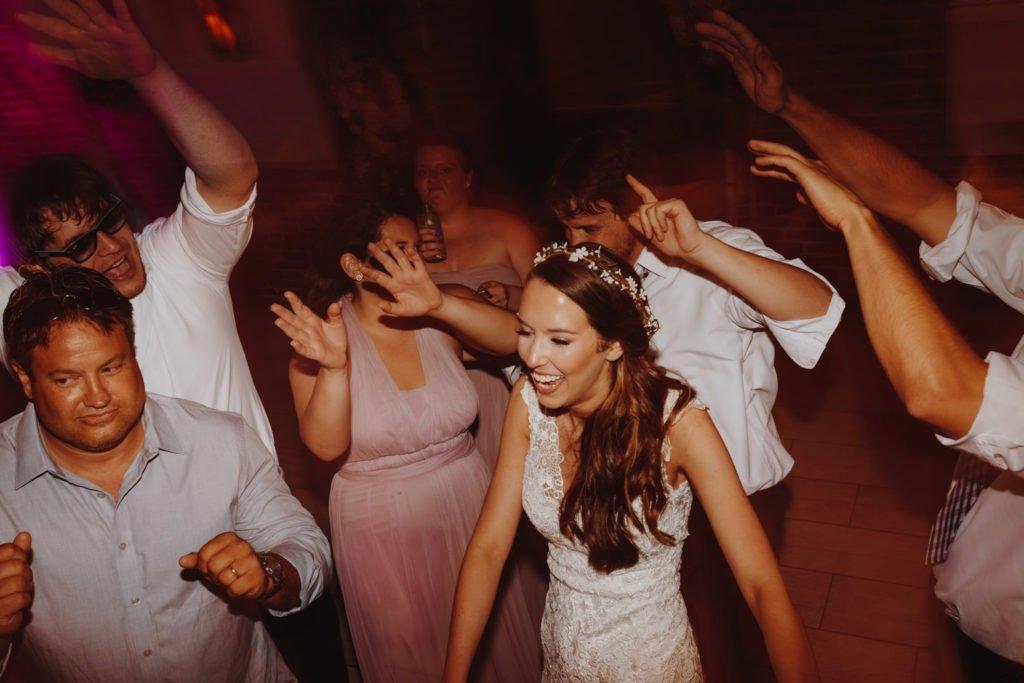 Fun dance photos during wedding reception