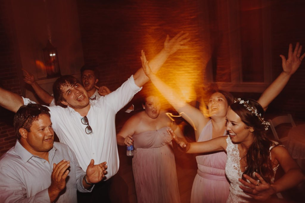 Fun dance photos during wedding reception