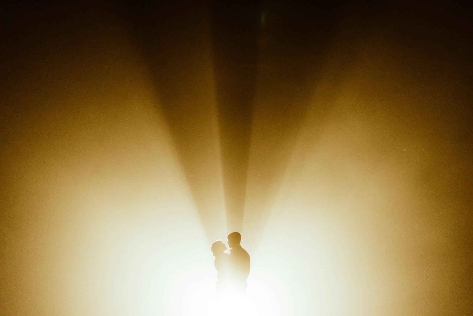 Bride and Groom in during foggy Portland Oregon wedding