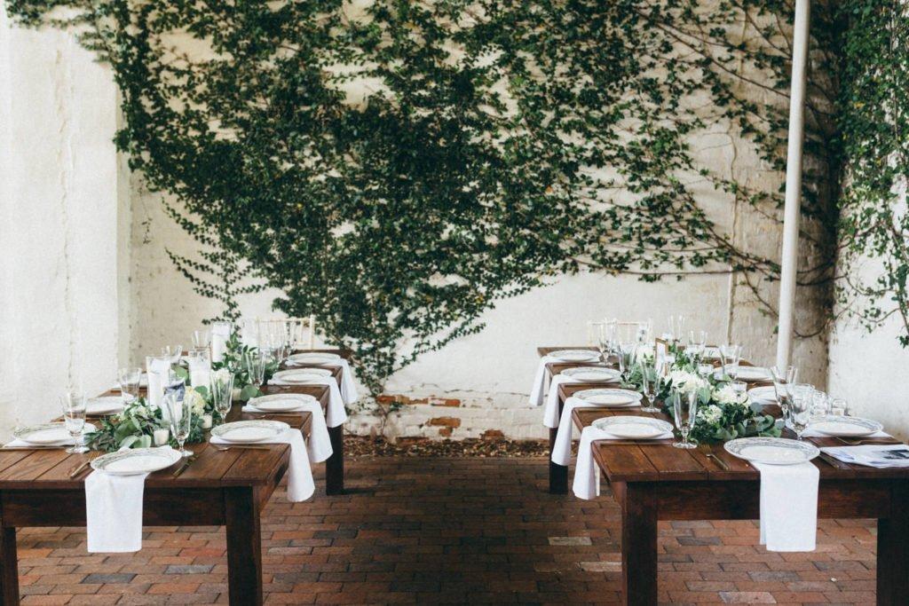 Wedding reception dinner table setups