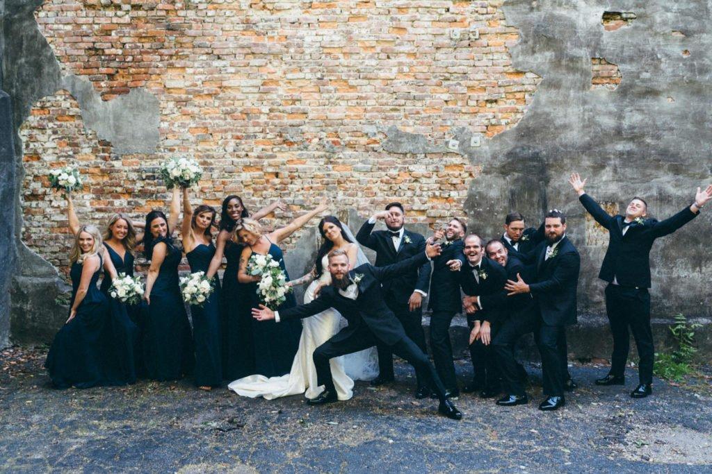 Fun wedding party group photo
