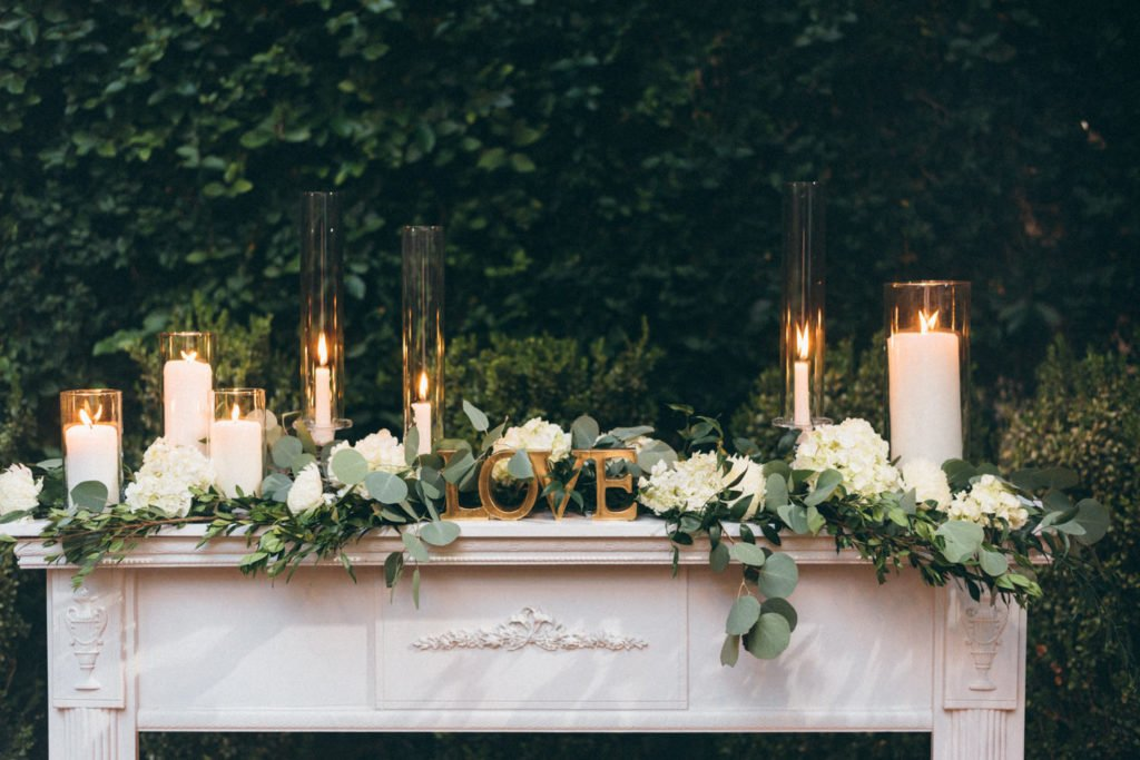 Wedding ceremony with lush greenery