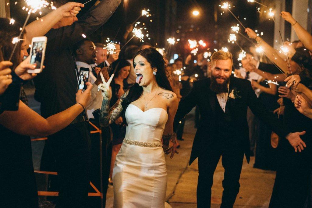 Fun wedding sparkler exit