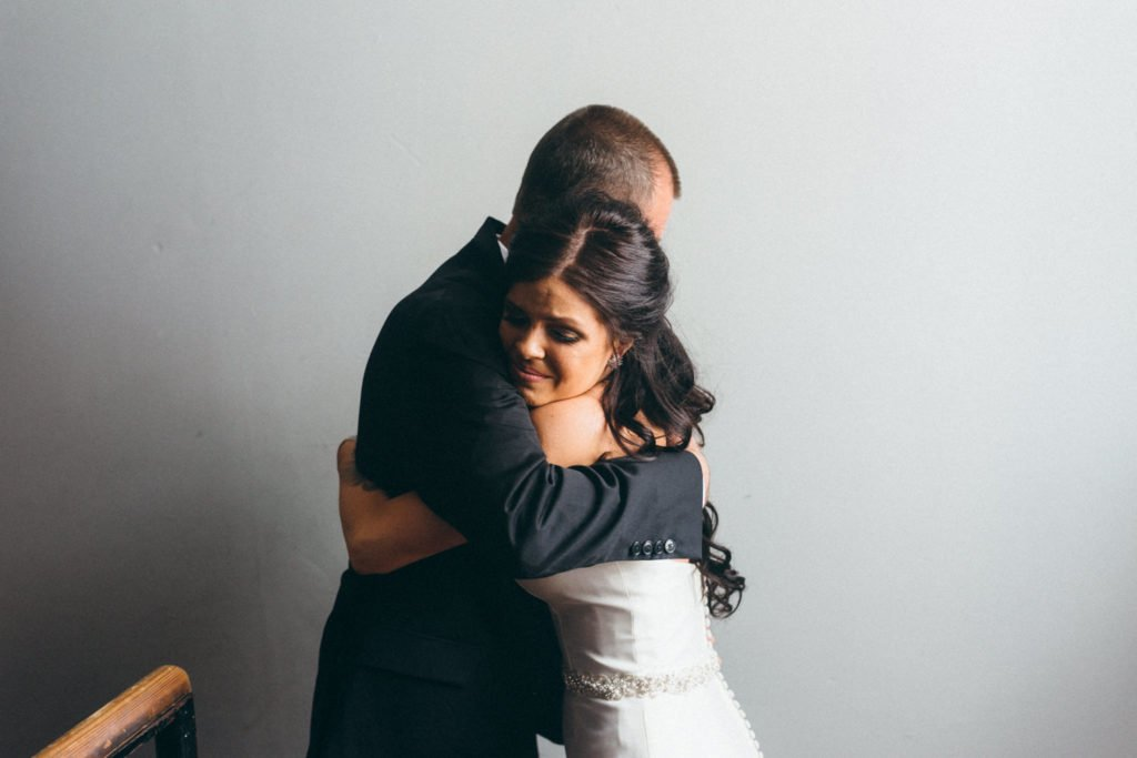Bride's first look with her father before Portland Oregon wedding
