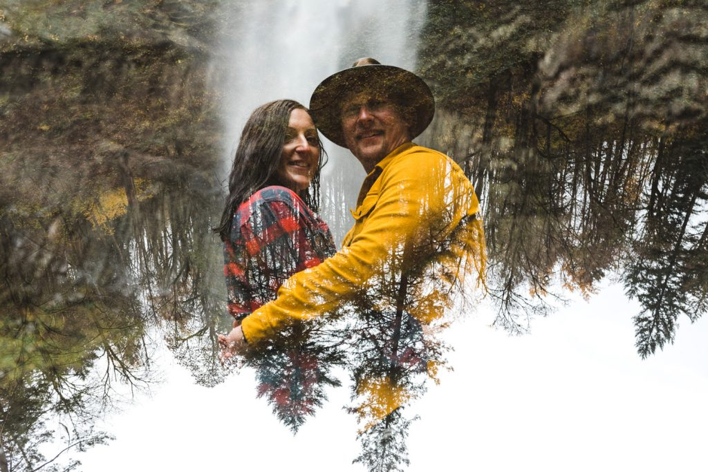 Portland Waterfall Engagement Session at Latourell falls in the columbia river gorge