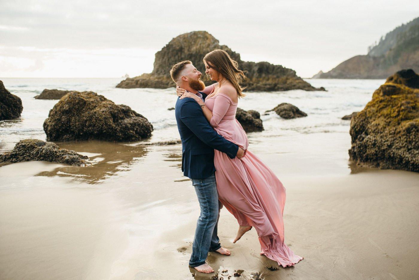 Romantic Oregon Coast Engagement at Ecola State Park