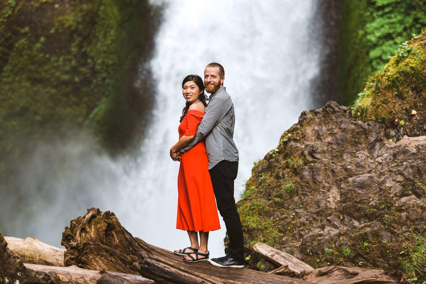 Wahclella Falls Oregon Engagement Session